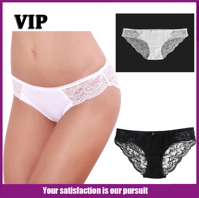 Cotton Lace Panties Lady Cute Sexy Thongs Solid Color Low-Rise Underwear 95% Cotton + 5% Briefs Spandex Trendy Women G-String(China (Mainland))