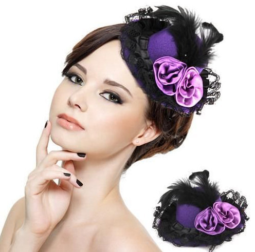 6pcs/lot 10cm mini shinning feather hat dance banquet hat fascinator hats fashion show headwear(China (Mainland))