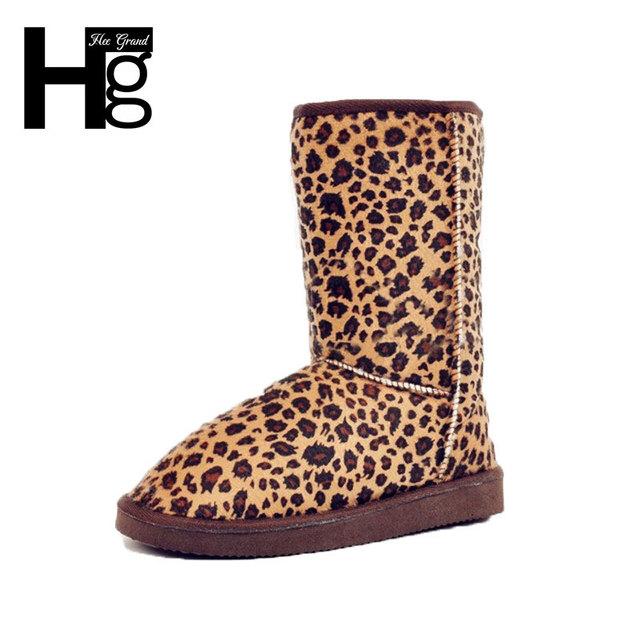 2016 новый горячая распродажа леопарда женщин сапоги леди теплая зима снегоступы ...