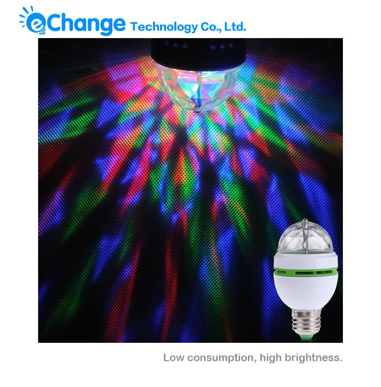 E27 Hot Full Color DJ Light Changing Auto Rotating Mini LED Stage Party Dance Light Bulb Lamp EB0207(China (Mainland))