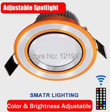 Remote control adjustable LED Spotlights ,3w spotlight color/brightness adjustable ,smart timing,background light(China (Mainland))