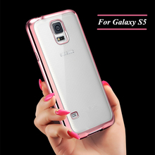 S5 Ultra Thin Clear Crystal Rubber Plating TPU Soft Case Cover For Sansung Galaxy S5 Protective Shell
