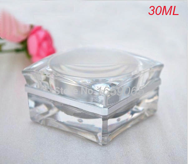 30g silver square shape acrylic cream bottle eyecream jar Cosmetic Packaging Jar - Victor's Packing Store store
