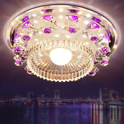modern led ceiling lights for living room crystal lampshade round 15W purple/blue color kristallen lamp AC 100-240V D18CM<br><br>Aliexpress