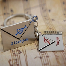 1Pair New Cute Silver Plated Letter Couple Key chain pendant Key Chains Cupid arrow Love heart Keychain For Lovers' No.q069(China (Mainland))