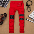 Mens denim jeans red elastic patchwork hole straight male jeans skinny leather pants for men brand