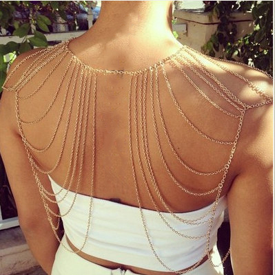2015 new women girl Fashion Charm Gold Tassels Link Body Shoulder Chain statement necklace BY22 - Golden Shadow store