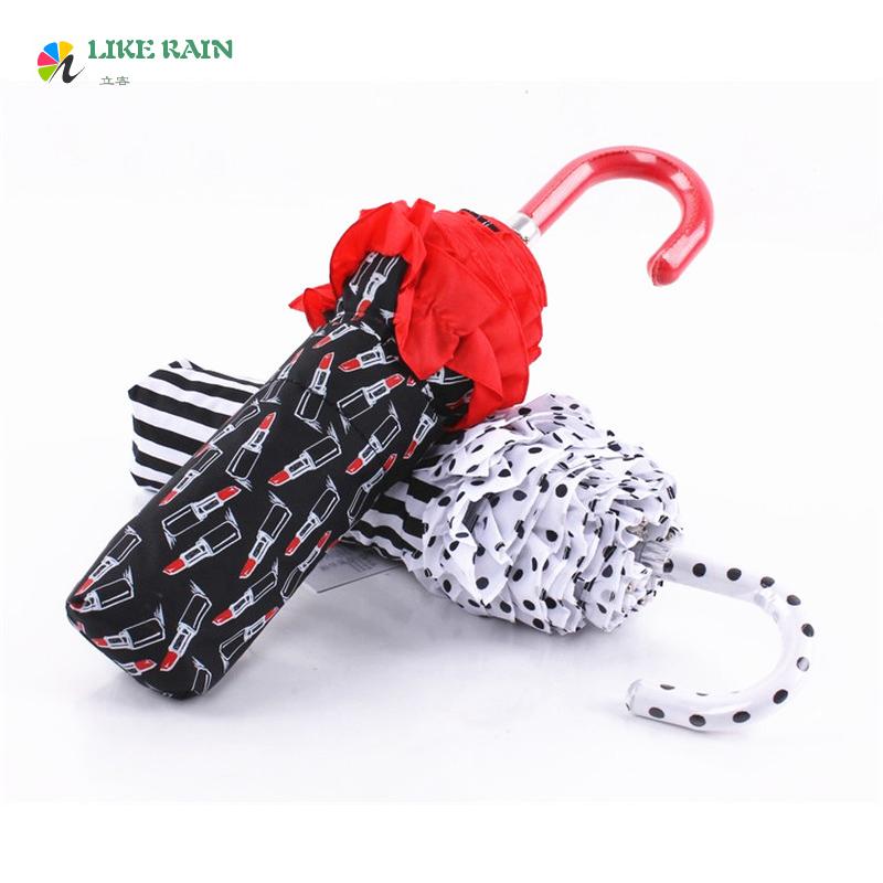 2 цвет 2016 новых творческих малый расширяющиеся лонг-ручка зонтика симпатичные кружева карманы дождь женщины марка декоративные зонтик