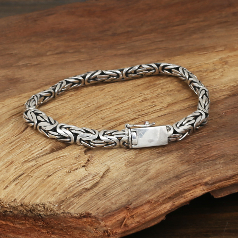 Фотография S925 wholesale silver jewelry Mens handmade Thailand silver buckle small flat safety Bracelet lines