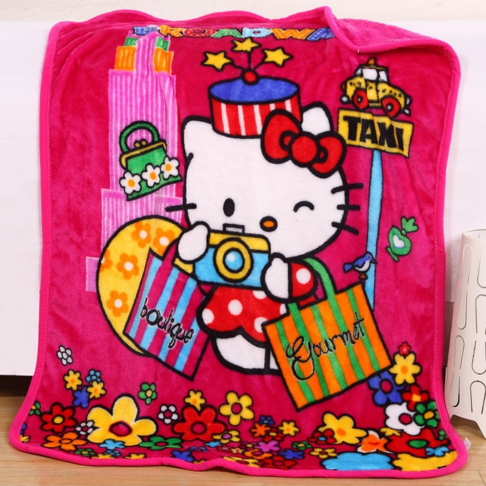 2016 NEW Children Baby Coral Fleece Blanket for Newborn Soft Infant Bedding Girl Boy Hello Kitty SpongeBob Cartoon Character Kid(China (Mainland))