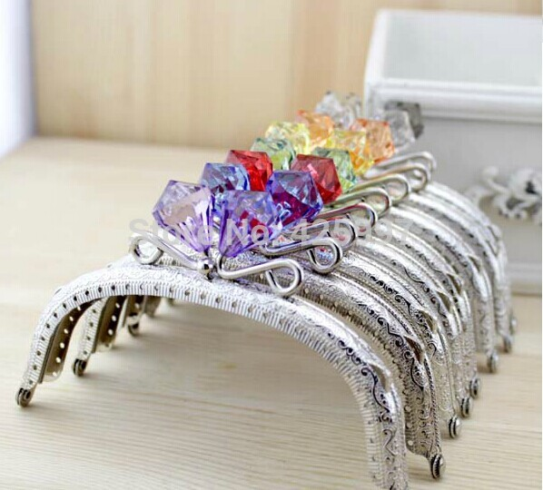 Freeshipping 12.5CM arc Crystal diamond stone Candy bead Coins purse frame silver Kiss Clasp Metal-opening Bag accessories 10pcs(China (Mainland))