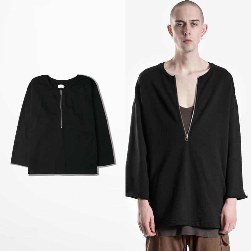 Fashion Hiphop Streetwear Yeez Kanye West Yeezy Fear Of God Mens V-neck Sweat Plain Zipper Oversized T-shirt Men Clothes T-shirt(China (Mainland))