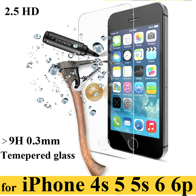0.3MM 2.5D For iPhone 6 or plus 4.7 5.5 inch Tempered Glass Screen Protector for 4 4s 5/5S/5C 2.5D 9H Shock Proof Tempered case(China (Mainland))