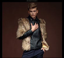 Free Shipping New male fashion casual winter leather fur coat zipper PU mosaic coat 14129 custome-made(China (Mainland))