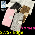 Women Leather Gitter Diamond For Samsung Galaxy S7 S7 Edge Flip Phone Bag Protective Case Rhinestone