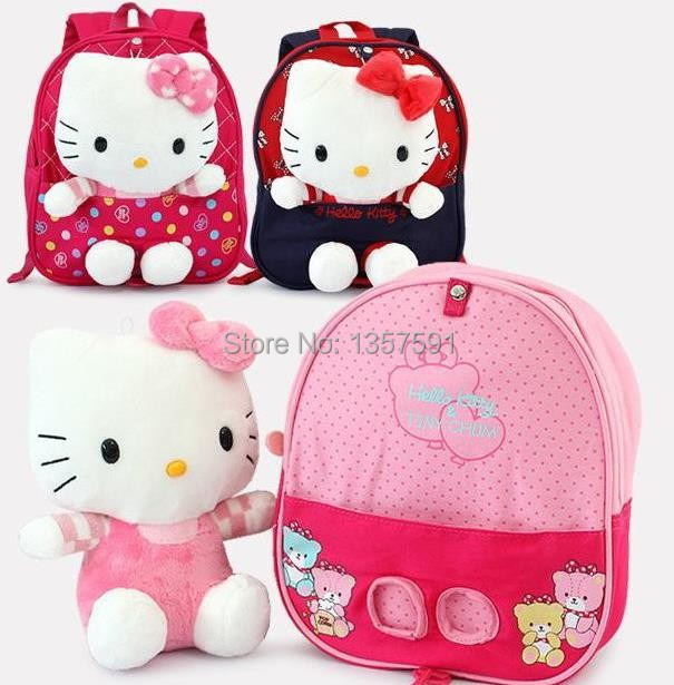 New Trends ! Cute 3D Hello Kitty Toy Baby Bags For Kids Girls .Actical Pink Children Backpack School Bag,High Quality Z05(China (Mainland))