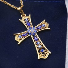 Buy 2017 Fashion Golden Cross pendant necklace Jewelry Woman Rhinestone Cross Pendants Charms Sweater chain Jesus Necklaces for $1.38 in AliExpress store
