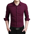 2016 New Fashion Casual Men Shirt Long Sleeve Business Slim Fit Solid Shirt Men Elastic Dress