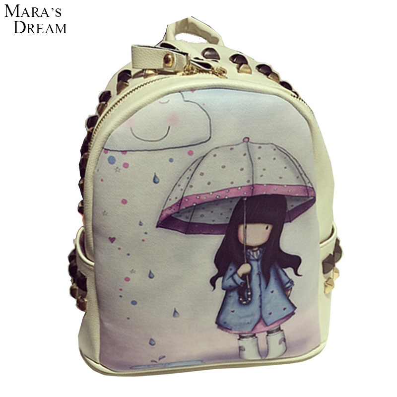 Mara's Dream 2016 Explosion Models Hot New Backpack Cartoon Cute Backpack New Fall Rivets Hardness Zipper Printing Backpack(China (Mainland))