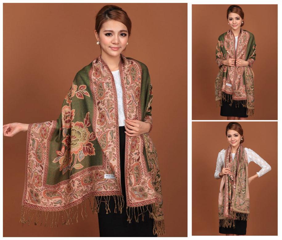 Green Hot Sale Fashion Double Faces Fancy Paisley Women's Pashmina Shawl/Scarf Wrap Peony Free Shipping RH-1B(China (Mainland))