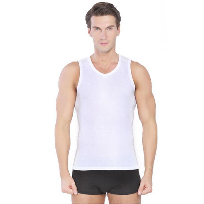 Men's 100% Cotton V-Neck Tank Tops Summer Male Sleeveless Vest 2015 Casual Gilet White / Gray Black - TINO&LIN MALL store