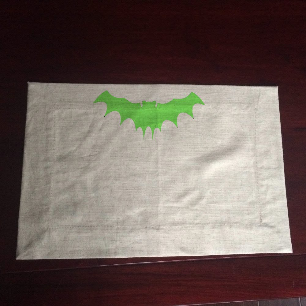 Halloween glow in dark bat linen napkin mat napkin for Halloween cloth napkins