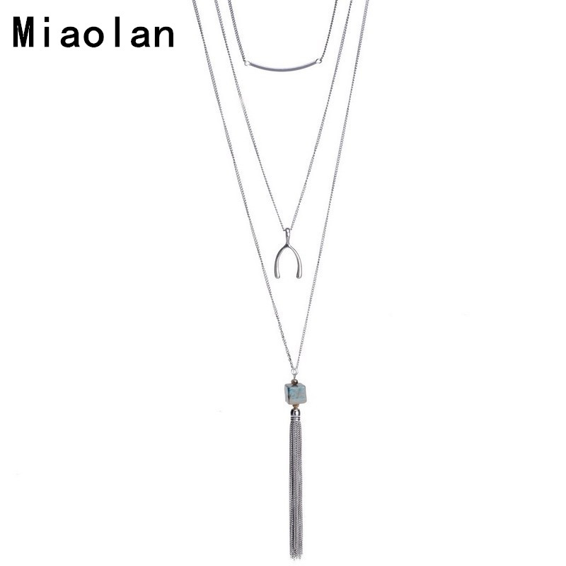 Platinum Plated Natural Stone Agate Tassel Pendant Necklaces Irregular Long Chain Necklaves For Women Gift<br><br>Aliexpress