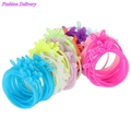 50pcs Lot Mix Color Hair Rope Rabbit Ears Fluorescent Candy Color Elastic Hair Bands For Women