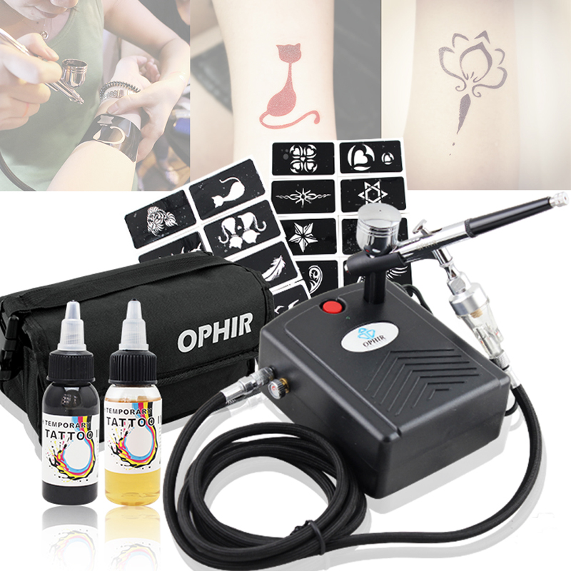 OPHIR Temporary Body Art Tattoo Airbrush Kit with Mini Compressor for Body Painting 20 Stencils Black Ink Finalized Ink_OP-BP004(China (Mainland))