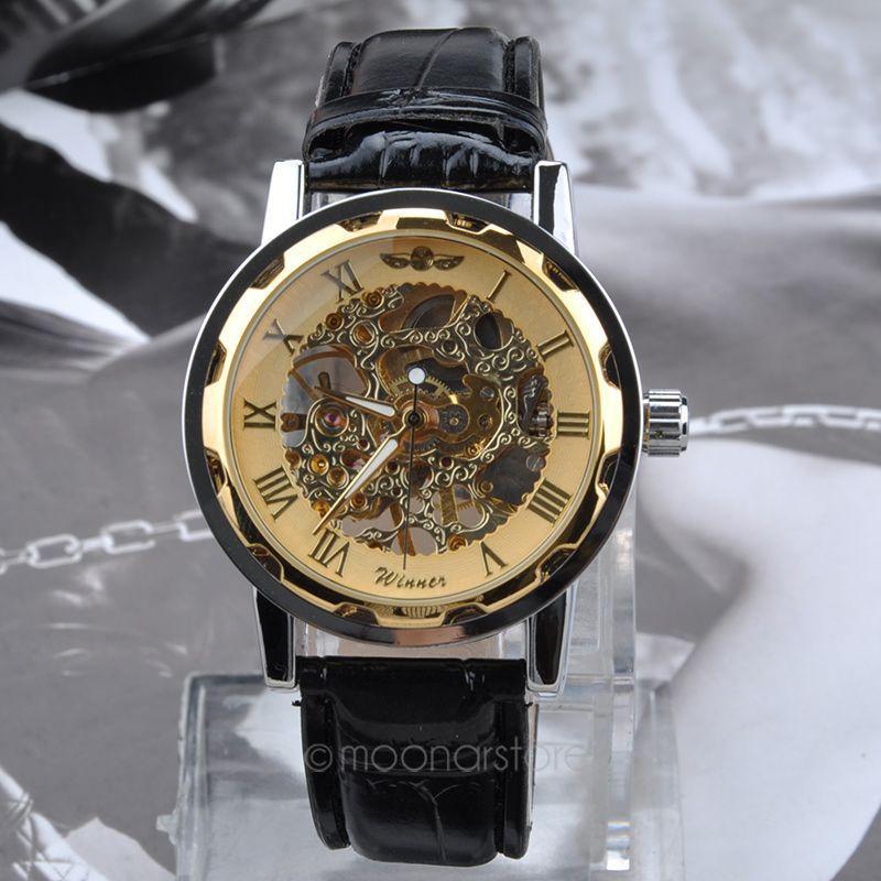 Cool Men Vintage Skeleton Transparent Wheel Gear Totem Mechanical Stainless Steel Sport Watch Boys Leather Wristband