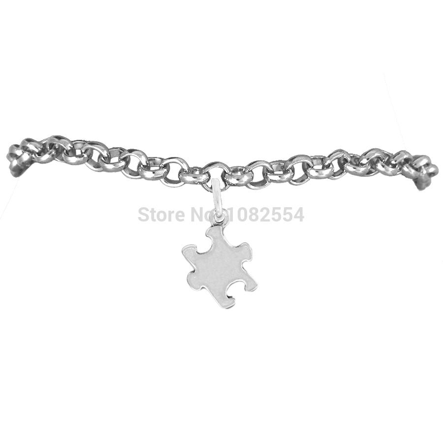 Trendy Zinc Alloy Puzzle Piece Autism Awareness Charm Rolo Bracelet(China (Mainland))