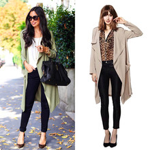 2015 Autumn Women's Casual Trench New Fashion Large Turn-down Collar Full-sleeve Slim Long Trench Fall Epaulet Coat Outwear