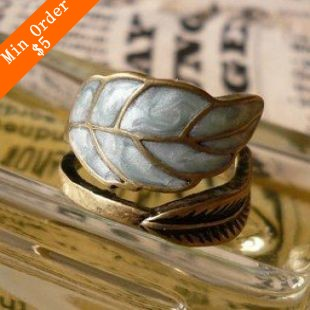 2015 New Fashion Restore Ancient Ways Adorn Article Super Simple Sense Colored Glaze Leaves Ring R213(China (Mainland))