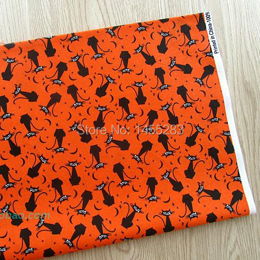 2 meter black cat cartoon printed 100 cotton fabric for for Sewing material for sale