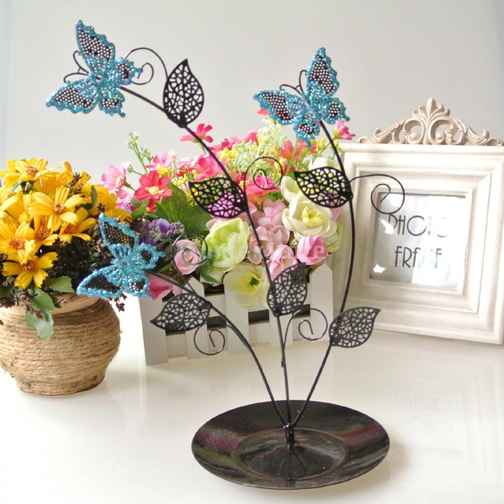 New 2014 Brand New Blue Butterfly Tree Jewelry Stand Earring Holder Organizer Display Rack(China (Mainland))