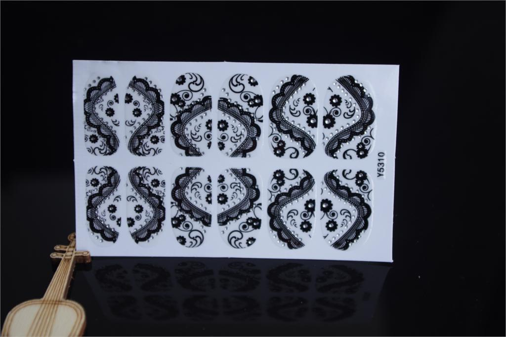 Full Nail WRAPS Art adhesive Sticker False Nails Foil decals Manicure Decor Tools Cover design lace crystal black flower(China (Mainland))