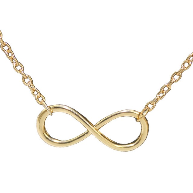 2016 New Hot Metal Alloy Infinity Sign Pendant Necklace Chain Gold Silver Black Love Statement Necklace bijoux femme
