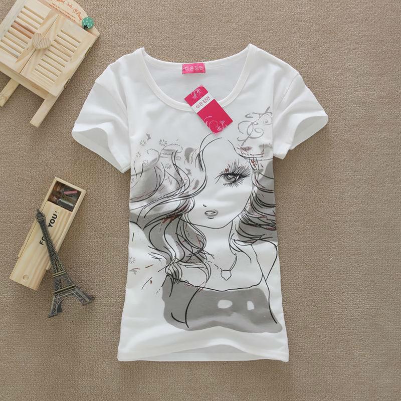 2015 Summer Women Casual Clothing Cotton T shirt Girl Character Print Short Sleeve Shirt Desigual White tops Tee Plus size nz181 - Floveme Bestsell Watch Store store