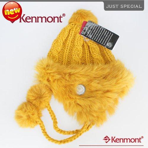 Wool Earflap Hat Winter Women Hand Knitted Rabbit Fur Mustard Yellow Beanies Cap Ski-Caps Kenmont AE-1245-40 - Price Brand Hats Store store