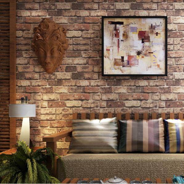 Buy brick stone wall paper chinese rustic for 3d effect wallpaper for walls