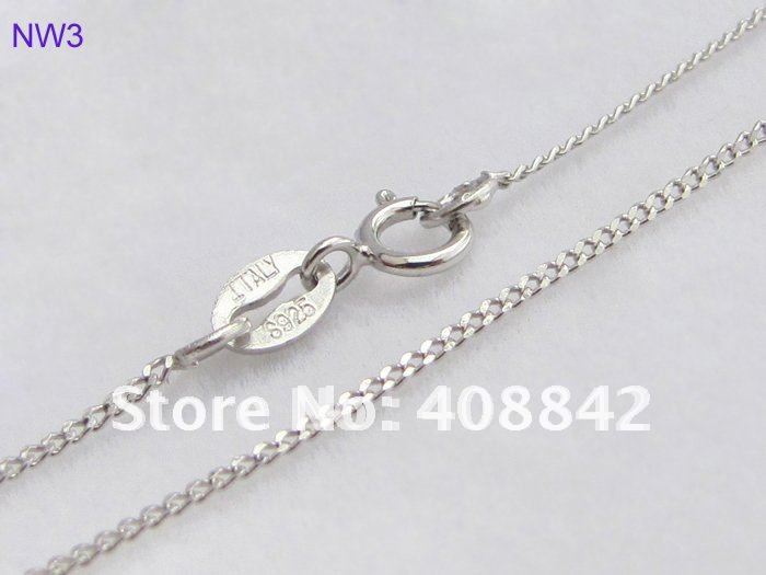 "Free shipping Wholesale Retail 925 Sterling Silver 1mm 18"" Jewelry Necklaces NW3 Rope Chain Rhodium Plated Oxidation Resistance(China (Mainland))"
