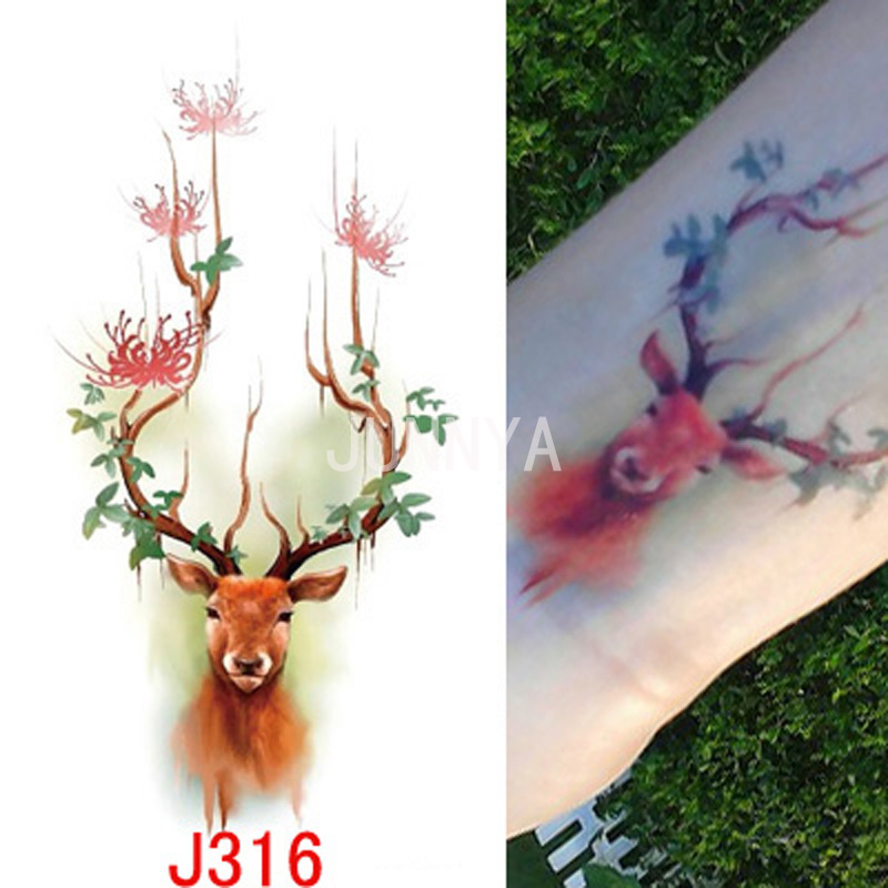Red deer design flash tattoo body art temporary tattoos for Temporary tattoo tracing paper