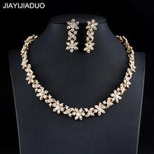 Jiayijiaduo דובאי זהב צבע שרשרת עגילי סט לנשים של חתונת תכשיטי סט קריסטל תכשיטי אביזרי dropshipping 2018(China)