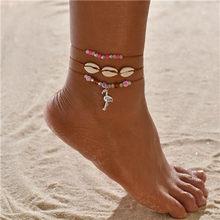 Moduł antyczne złoto kolor bransoletki na nogę kobiet powłoki cekiny koraliki bransoletka geometryczna Charm czeski bransoletka kostki Boho Foot biżuteria(China)