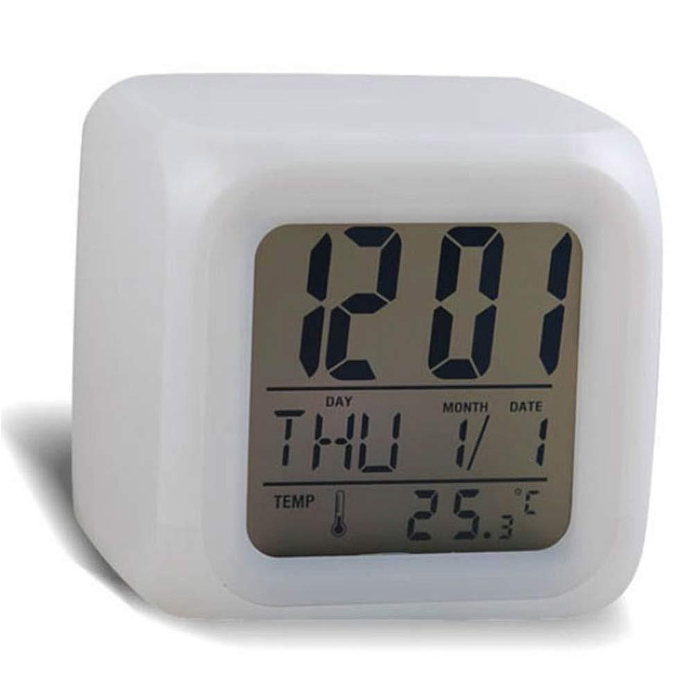 Good Quality  despertador Digital Alarm Thermometer night clock  Glowing Cube 7 Colors Clock LED Change Fashion