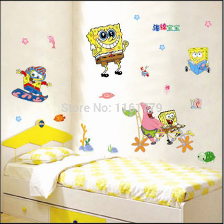 120*83CM DIY Cartoon SpongeBob Square Pants Wall Decal Stickers Children's Room Bedroom Deocr Sticker - Lovely Home-Lise store