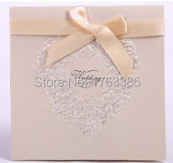 Set of 20 Embossed Rosette Love Heart Wedding Invitation With Satin Bows Party Invite Wedding Cards(China (Mainland))