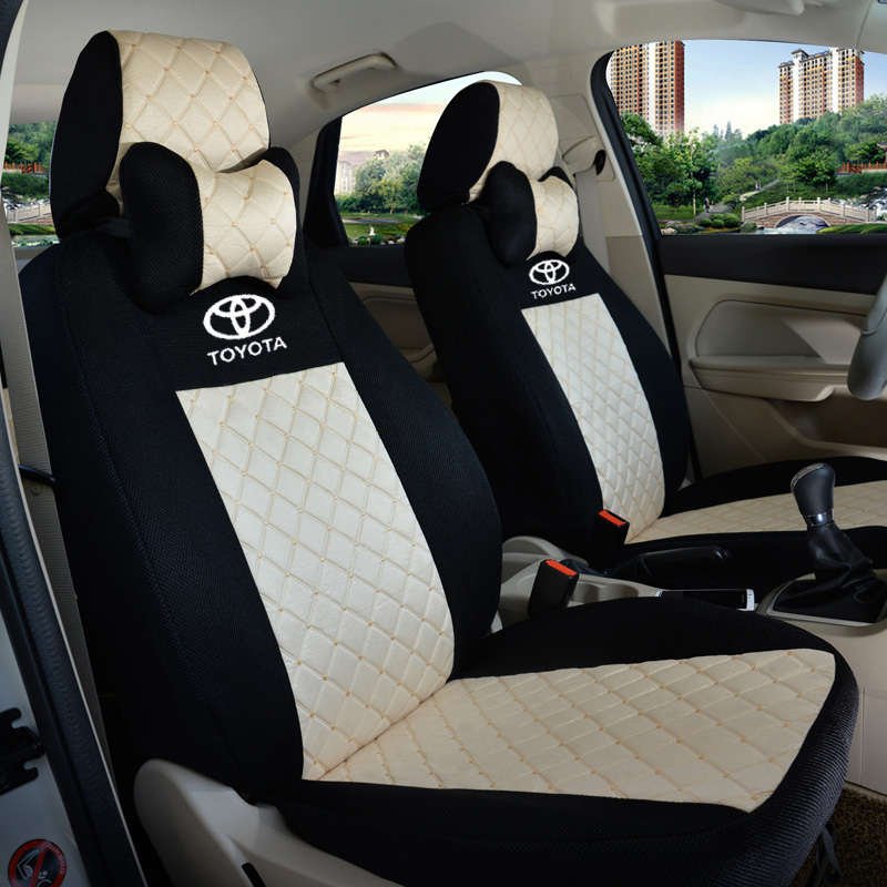 2 front seat universal car seat cover for toyota corolla camry rav4 vitz auris prius yaris. Black Bedroom Furniture Sets. Home Design Ideas