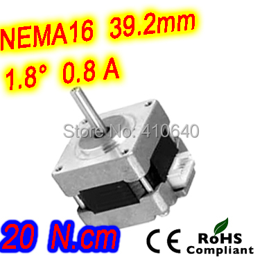 10 pieces per lot FREE SHIPPING stepper motor 16HS15-0806S L 38 mm Nema16 with 1.8 deg 0.8 A 20 N.cm and unipolar 6 wires(China (Mainland))