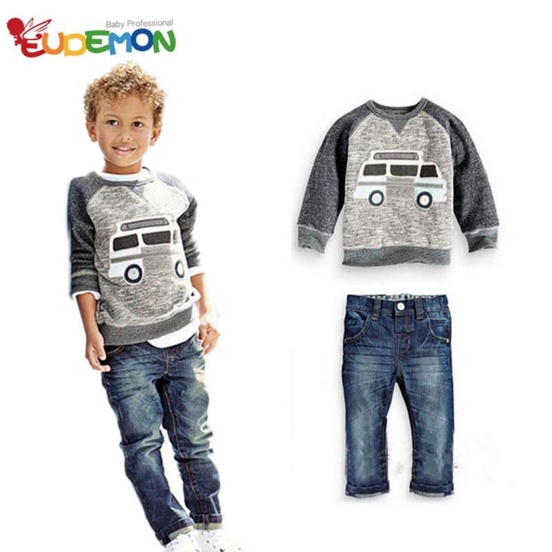 New brand designer boys clothes cool fashion boys clothes set warm autumn winter boys sets clothes and jeans kids clothing sets(China (Mainland))